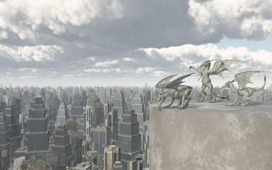 Gargoyles über einer Großstadt