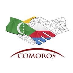 Handshake logo made from the flag of Comoros.