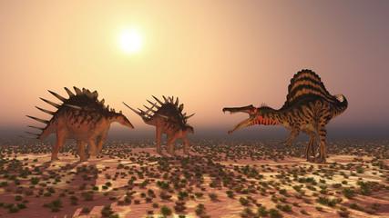 Spinosaurus attacks Kentrosaurus