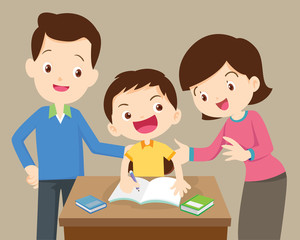 father and mother  helping son to homework.family doing homework together at home.portrait of a family drawing at table.Mother and father doing homework with their kids