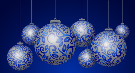 Christmas 3D blue balls with silver decorations