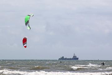kitesurfers in Swansea Bay
