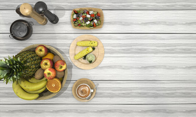 3d rendering nice meal consist of fruit and corn and coffee on white wood table