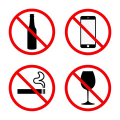 Set of sings ban, no phone, no smoke, no alcohol