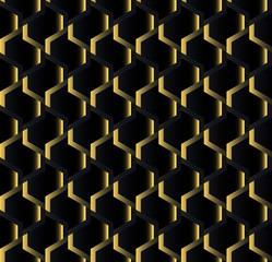 Seamless background wallpaper.Gold on black pattern