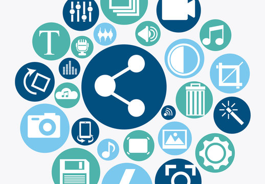 Blue and Teal Circular Multimedia Icons