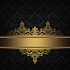 Black decorative background with gold border.