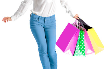 people, sale, black friday concept - woman with shopping bags