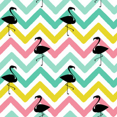 flamingo black silhouette on abstract colorful chevron pattern seamless background illustration