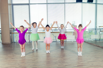 happy children dancing on in hall, healthy life, kid's togethern