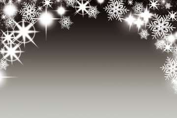 Christmas background with luminous garland with stars snowflakes and place for text. Sparkly holiday background with copy space. Black and gold background