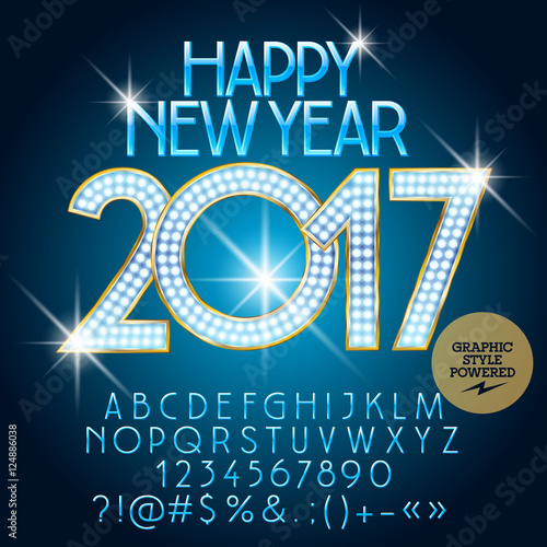 vector luxury light up happy new year 2017 greeting card with set of letters symbols