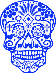 SUGAR SKULL WITH CROSS, HEART, 4-LEAF CLOVER AND SPADE