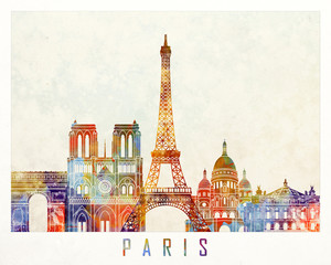 Wall Mural - Paris landmarks watercolor poster