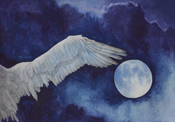 wings of white birds on the background of the moon