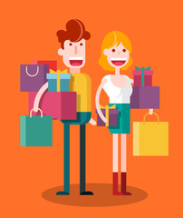 Couple Shopping. Isolated Flat Vector Illustration.