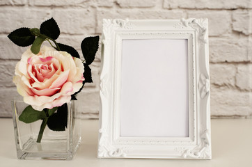 Frame Mockup. White Frame Mock Up, Digital MockUp, Display Mockup, Styled Stock Photography Mockup, Colorful Desktop Mock Up. Floral, vase, flower rose