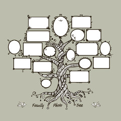 Family tree template with picture frames