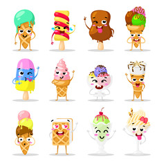 Collection sweets emotion lovely ice cream, doodle icons. Beautiful sweet ice cream. Set of funny ice creams. Flat design. Vector clip art