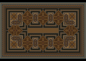 Luxury ethnic carpet with oriental vintage ornament in brown shades