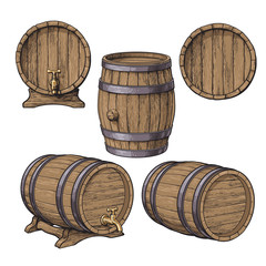 Set of wooden barrels, sketch style vector illustrations isolated on white background. Collection of standing and lying wine, rum, beer classical wooden barrels