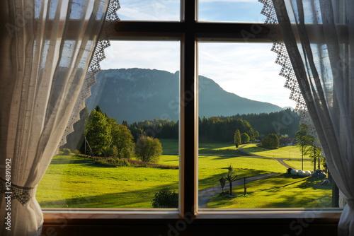 blick aus dem fenster in den bayrischen alpen stockfotos und lizenzfreie bilder auf fotolia. Black Bedroom Furniture Sets. Home Design Ideas