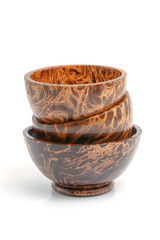 Palm wood bowl isolate on white background