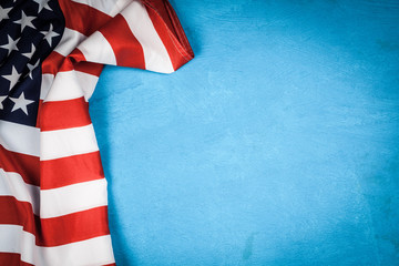 Fotoväggar - USA flag on blue background