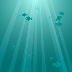 Underwater background with fishes. Vector illustration