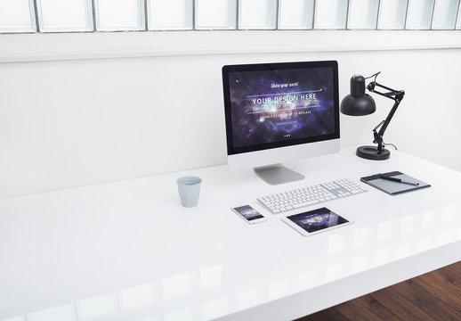 Desktop Computer at an Office Desk Mockup 4