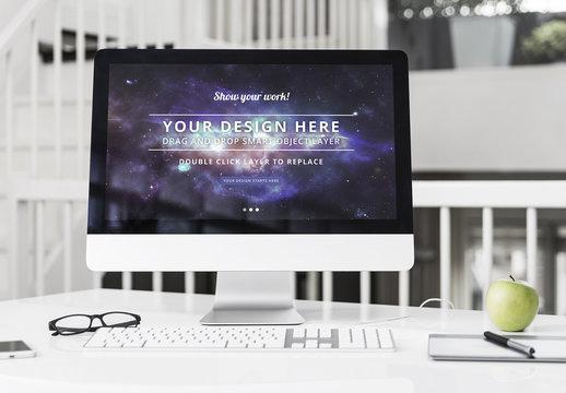 Desktop Computer at an Office Desk Mockup 3