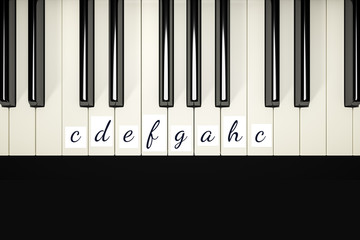 classic piano keys with note signs