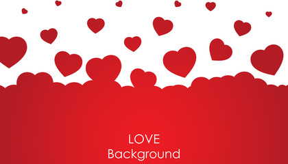 Flying heart background. Love vector illustration. Valentine day