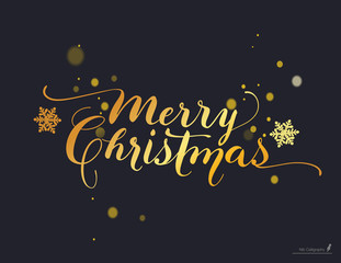 Lettering Based on a Nib Calligraphy and Snowflakes on a Black Background . Vector art. Design Element For Congratulation Cards, Banners and Flyers. Xmas Design