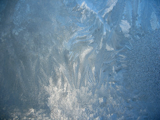 Frosty pattern on winter window