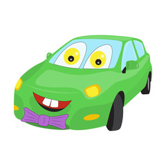 Smiley faced cartoon car with a bow