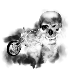 Image chopper motorbike with skull in smoke