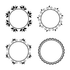 Set of round ornate borders. Frames with floral ornaments.