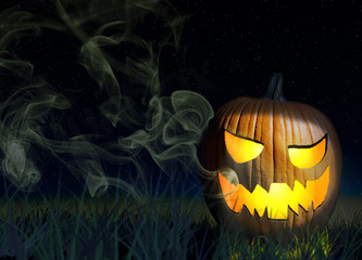 Halloween Pumpkin On A Spooky Background At Night