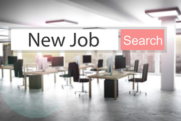 websearch new job red search button office 3D Illustration