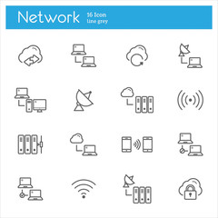Network vector line icons