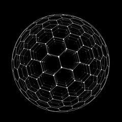 Vector hexagonal grid buckyball sphere isolated on black background