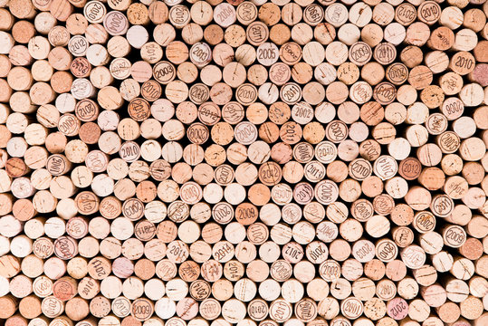 stacking wine cork background with vintage years