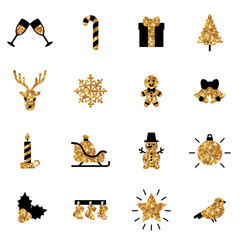Flat Christmas Icons in Black and Gold Colors