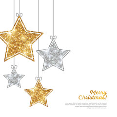Silver and Gold Hanging Stars on White