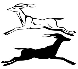 running gazelle black and white vector design and silhouette