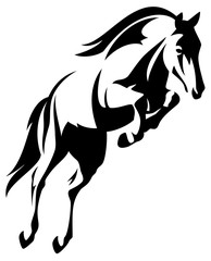 horse jump black and white vector outline