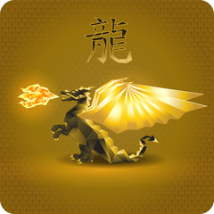 Dragon. Black-and-gold color. 3d. The fire dragon and dragon wings . At the top of 
