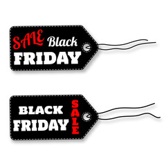 Black friday sale labels on white background vector