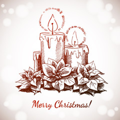 Merry Christmas and Happy New Year holidays vector hand drawn illustration with bright xmas decoration on White Background